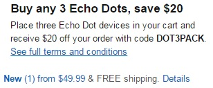 promo code 'DOT3PACK' on purchase of 3 Echo Dots