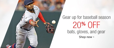 20% off promo for bats/gloves/gear