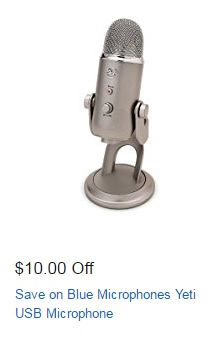 $10 off spring promo coupon on Blue Yeti USB microphone