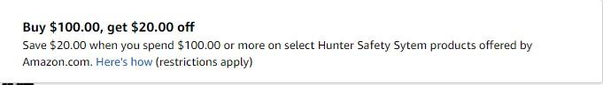 $20 off summer 2017 promo on Hunter Safety System