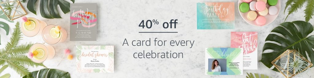 promo code 'CARDS40' for getting an extra 40% savings on all cards and invitations