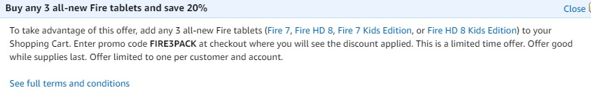 promo code 'FIRE3PACK' for all-new Fire tablets