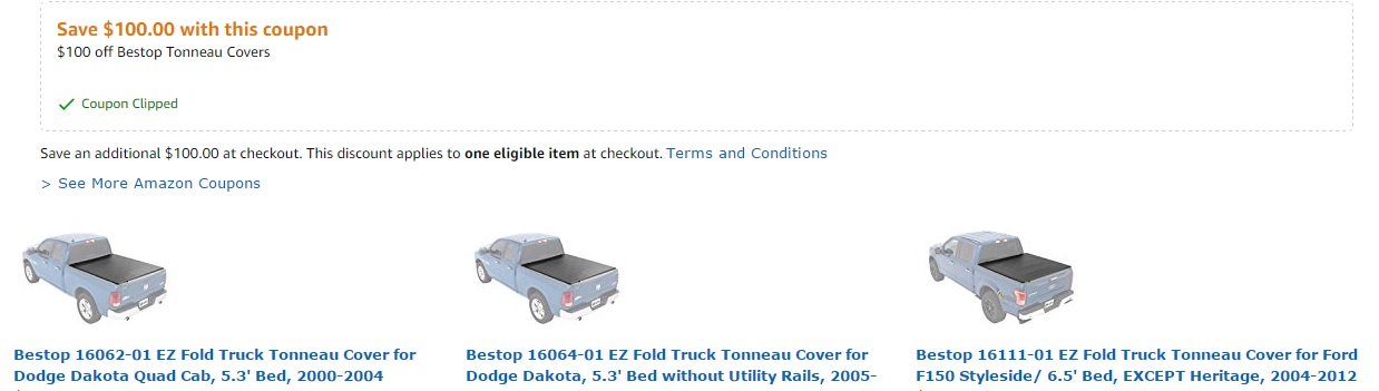 $100 off promo coupon for Bestop Truck Tonneau Cover