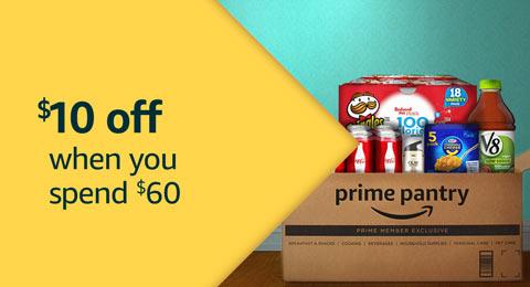$10 off $60 Amazon Prime Pantry