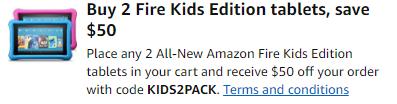 promo code 'KIDS2PACK'