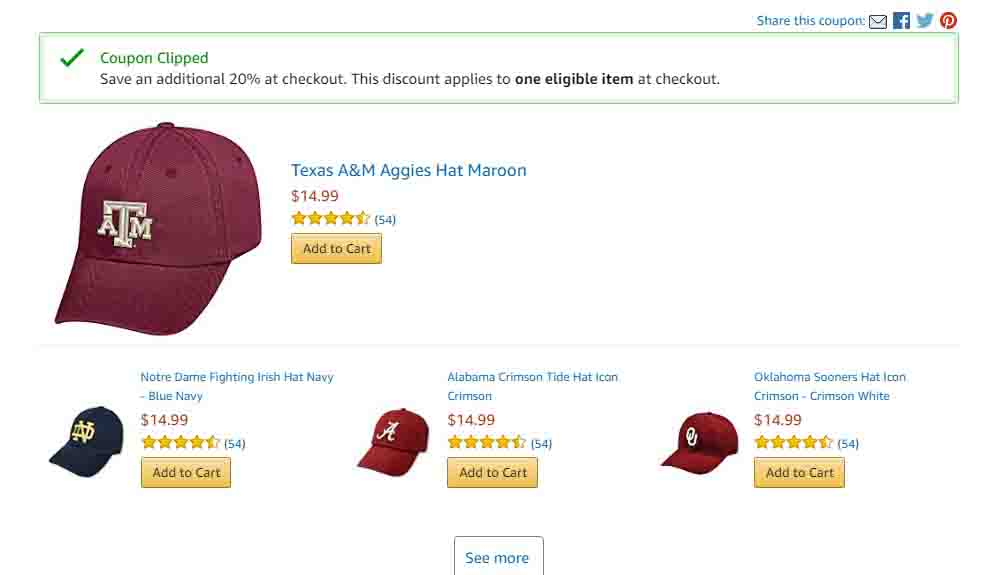 Extra 20% off promo coupon for NCAA team icon adjustable hats