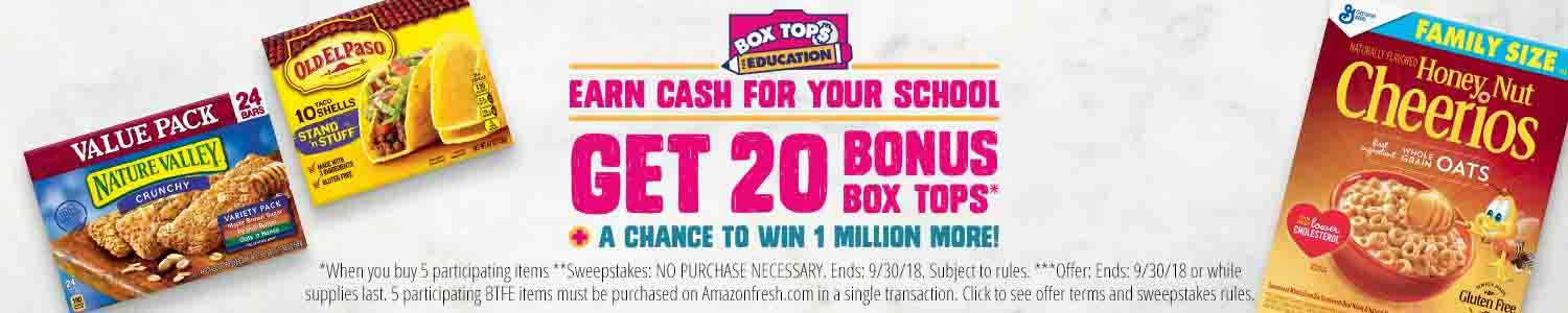 Earn cash for your school with Bonus Box Tops at Amazon Prime Fresh