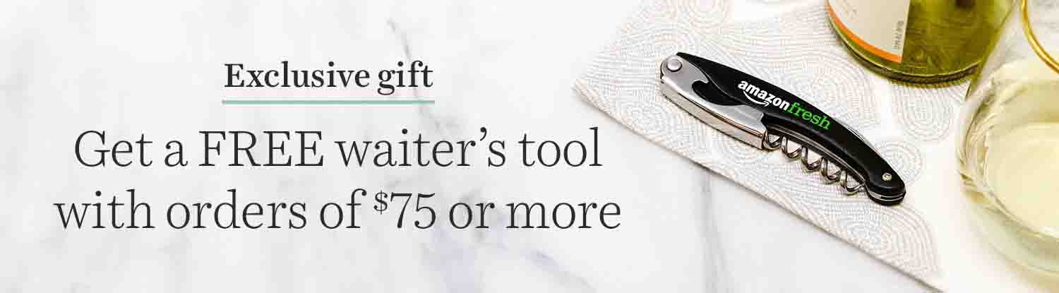 Get a free waiter's tool with purchase of $75 at Amazon Prime Fresh