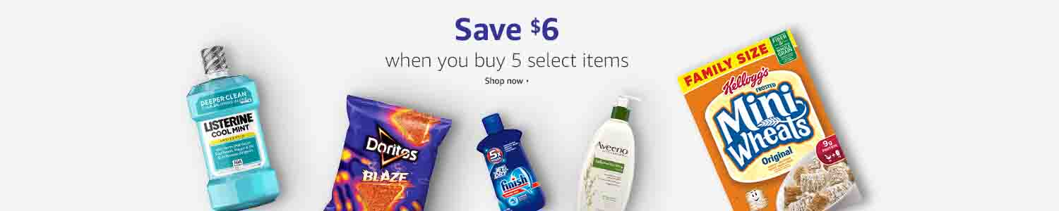 Extra $6 off Prime Pantry promo when purchase 5 items