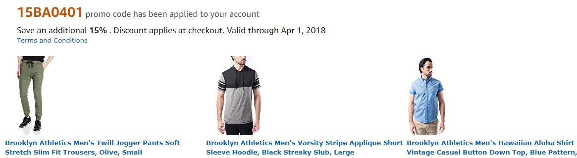 Extra 15% off promo code '15BA0401' for Brooklyn Athletics by Amazon