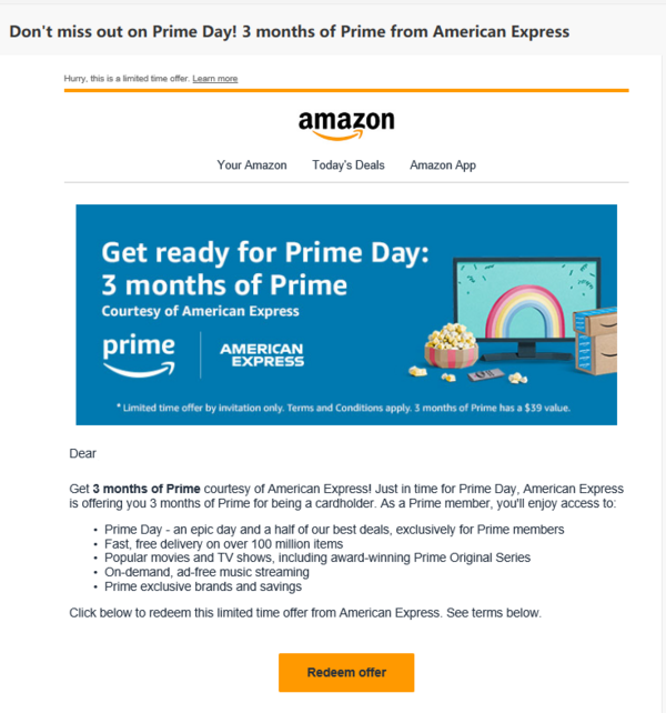 Use America Express to receive membership benefit in 3-months free from Amazon Prime Member