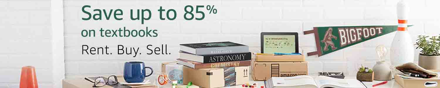 85% off textbooks plus promo code 'TEXT10' for extra 10% off