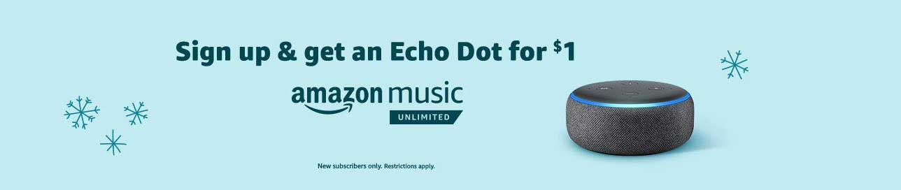 Promo code for Amazon Music Unlimited with a $1 Echo Dot