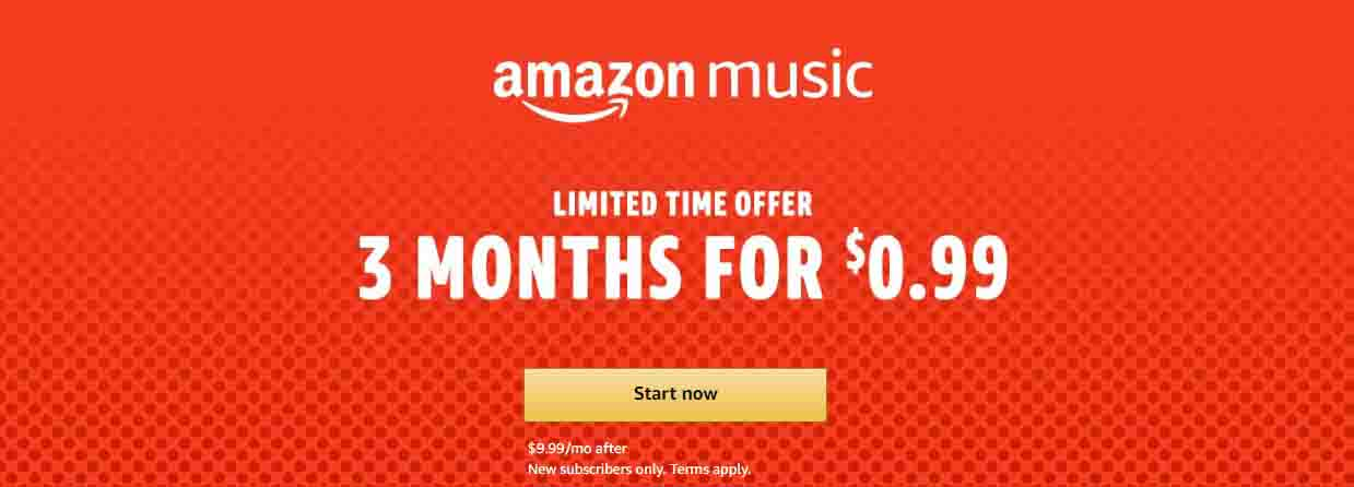 2018 Black Friday Day promo for $0.99 3 months Amazon Music Unlimited