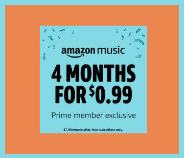 Holiday prime promo for Music Unlimited subscription by Amazon