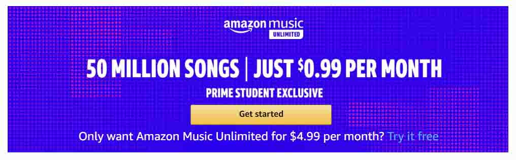 prime promo for Music Unlimited subscription by Amazon